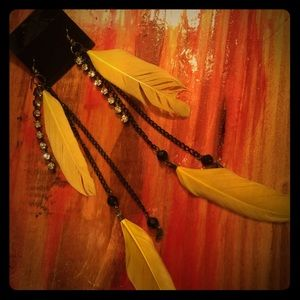 Jewelry - Black & Yellow feather earrings with rhinestones